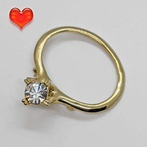 Giant Faux Diamond Engagement Ring Brooch Pin